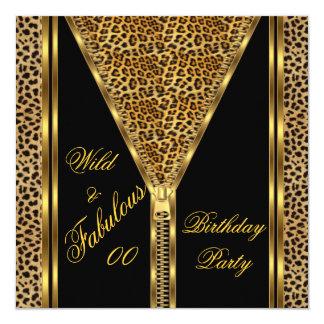 すばらしい誕生日のジッパーの金ゴールドの野生のヒョウ カード