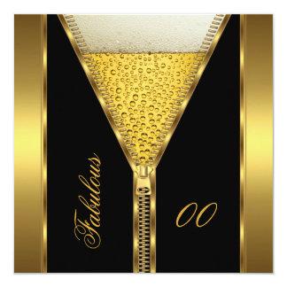 すばらしい誕生日のジッパーの金ゴールドビール飲み物のエール カード