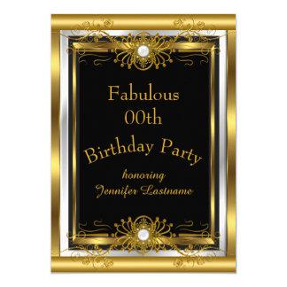 すばらしい金ゴールドの黒の誕生日のパーティの招待状 12.7 X 17.8 インビテーションカード
