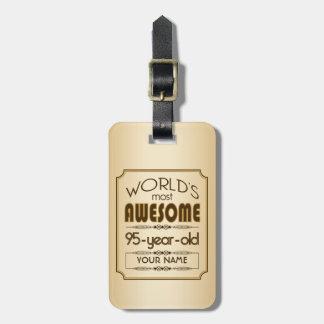 すばらしい金ゴールド第95の誕生祝いの世界のベスト ラゲッジタグ