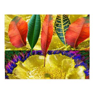 すばらしい金花nの葉パターン ポストカード