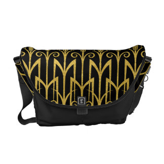 すばらしい黒金ゴールドのアールデコのデザイン クーリエバッグ