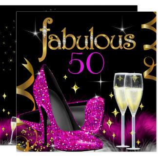 すばらしい50によってはピンクのハイヒールの金ゴールドの黒がパーティを楽しみます カード
