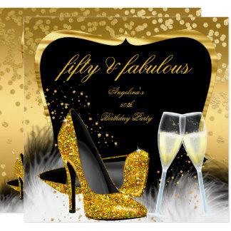 すばらしい50のパーティーの金ゴールドのシャンペンのグリッターのかかと カード