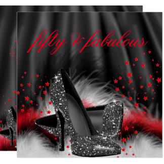 すばらしい50の赤く黒いハイヒールの誕生会 カード