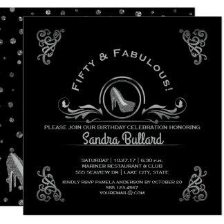 すばらしい50の銀製のハイヒールの誕生会 カード