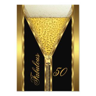 すばらしい50エレガントなジッパーの金ゴールドビール飲み物2 カード