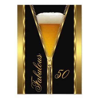 すばらしい50エレガントなジッパーの金ゴールドビール飲み物 カード