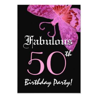 すばらしい50誕生会のピンクの蝶 カード