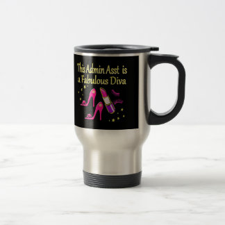 すばらしいADMIN ASSTの花型女性歌手のデザイン トラベルマグ