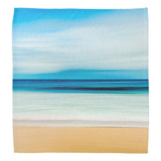 すばらしくリラックスさせるな砂浜の青空の地平線 バンダナ