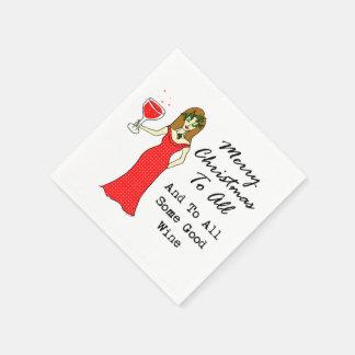すべてとすべてのよいワインへのメリークリスマス スタンダードカクテルナプキン