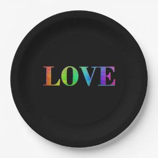 、すべてのその問題、LGBTの虹のプレート愛して下さい ペーパープレート