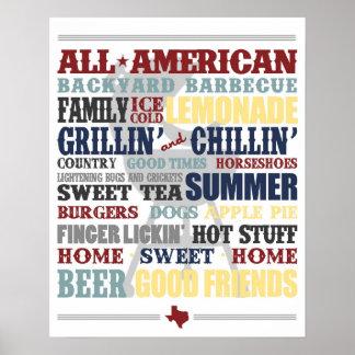 すべてのアメリカの裏庭のバーベキューのタイポグラフィポスター ポスター