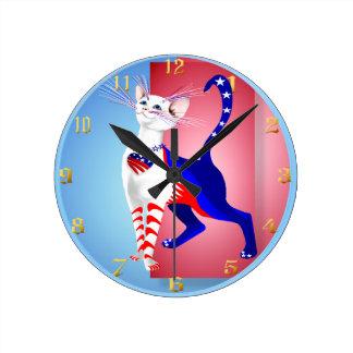 すべてのアメリカ猫Wallclock ラウンド壁時計