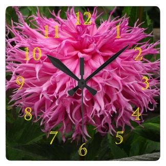 すべてのピンクの花 スクエア壁時計