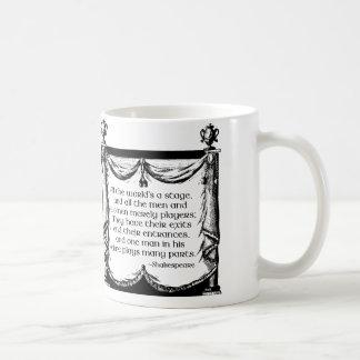 すべての世界はステージのマグ、シェークスピアの引用文です コーヒーマグカップ