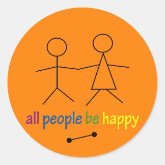 すべての人々は幸せなステッカーです ラウンドシール