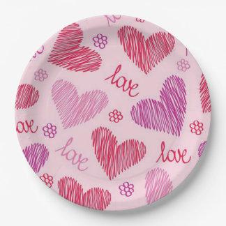 すべての愛バレンタインデーの紙皿 ペーパープレート