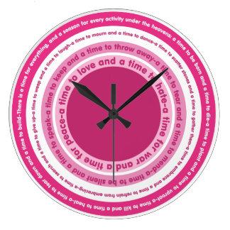 すべての時間-ピンクの調子の時計 ラージ壁時計