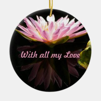 すべての私のLoveのピンクのはす《植物》スイレン「 セラミックオーナメント