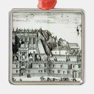 すべての精神大学、オックスフォード大学1675年 シルバーカラー正方形オーナメント