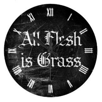 すべての肉は草です ラージ壁時計