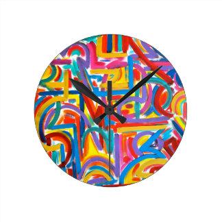 すべての道は抽象美術-手塗りそこに行きます ラウンド壁時計