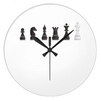すべての黒い1つの白、駒 ラージ壁時計