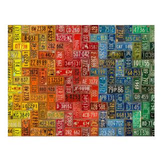 すべての50人の州からのカラフルなプレート ポストカード