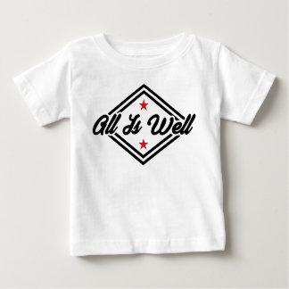 すべては健康なニューエイジの断言の黒、赤及び白です ベビーTシャツ
