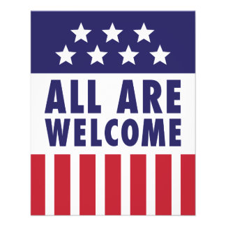 すべては歓迎されています-星条旗 チラシ
