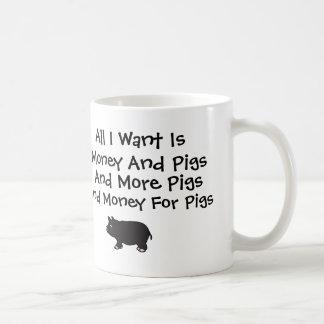 すべてはI Wantお金およびブタです コーヒーマグカップ