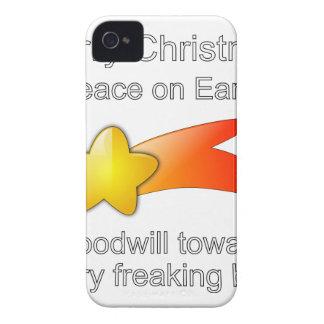 すべてへの地球の好意のメリークリスマスの平和 Case-Mate iPhone 4 ケース