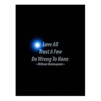 すべてを愛しないで下さい、少数を信頼して下さい、どれもに悪いことをして下さい。 ウィリアムS ポストカード
