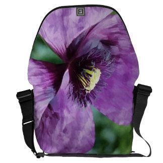 すみれ色のケシ/紫色のケシ メッセンジャーバッグ