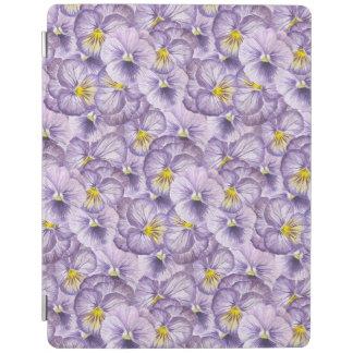 すみれ色のパンジーが付いている水彩画の花パターン iPadスマートカバー