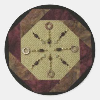 すみれ色の八角形のステッカー ラウンドシール