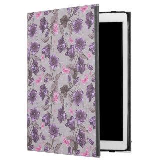 """すみれ色の振鈴およびピンクの蝶パターン iPad PRO 12.9"""" ケース"""