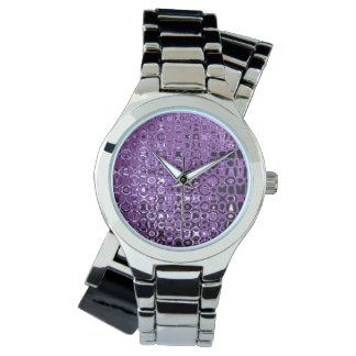 すみれ色の渦の女性のラップアラウンドの銀製の腕時計 腕時計
