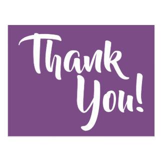 すみれ色の紫色および白い書道は感謝していしています ポストカード