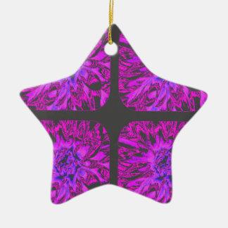 すみれ色の紫色のコラージュのダリアの花模様 セラミックオーナメント