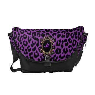 すみれ色の紫色のヒョウのモノグラムのメッセンジャーバッグ メッセンジャーバッグ