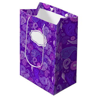 すみれ色の紫色のペーズリーのダマスク織パターン ミディアムペーパーバッグ