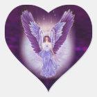すみれ色の紫色の天使のハートのステッカー ハートシール