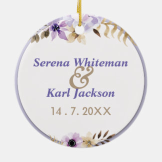 すみれ色の紫色の手描きの花フレーム セラミックオーナメント
