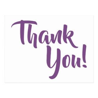 すみれ色の紫色の書道は感謝していしています ポストカード