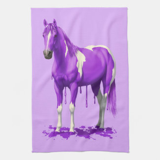 すみれ色の紫色の点滴注入のぬれたペンキの馬 キッチンタオル