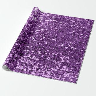 すみれ色の紫色の紫色のスパンコールのグリッターの光沢がある効果 ラッピングペーパー