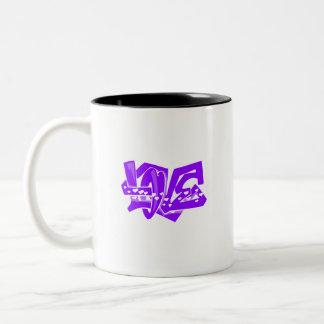 すみれ色の紫色愛落書き ツートーンマグカップ